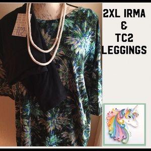 Nwt SET lularoe 2XL IRMA & TC2 Solid bk Leggings